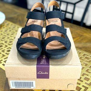 Clarks Black Velcro Strap Shoe